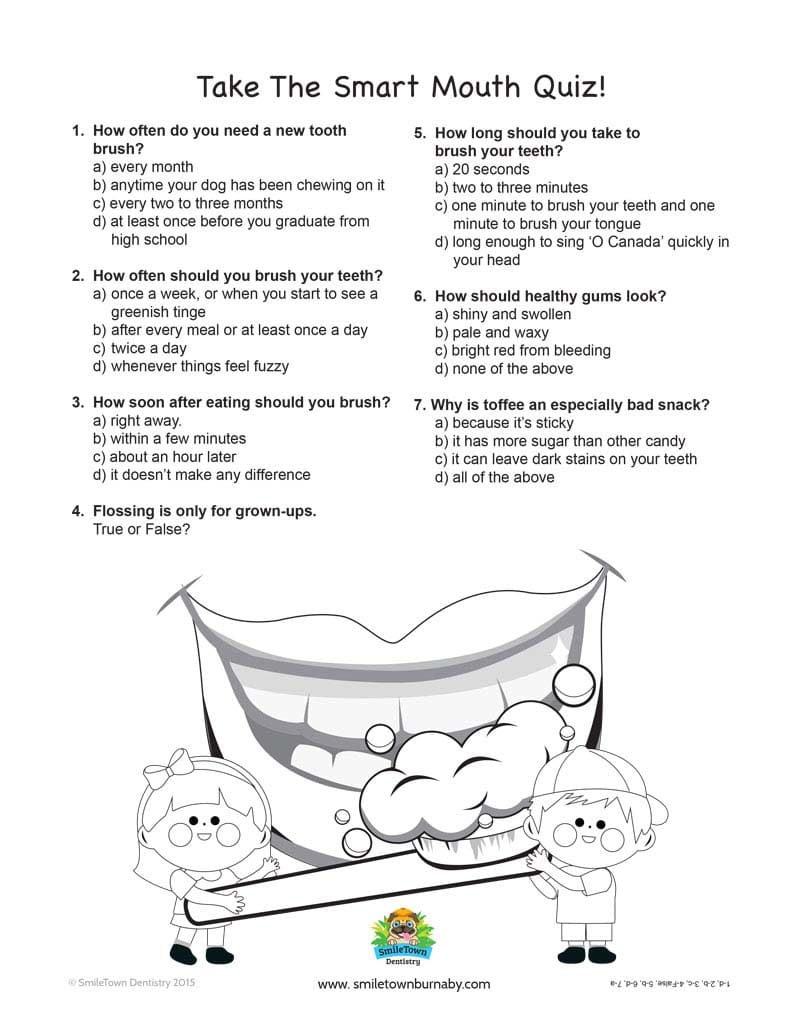 Smart Mouth Quiz, Burnaby Childrens Dentist