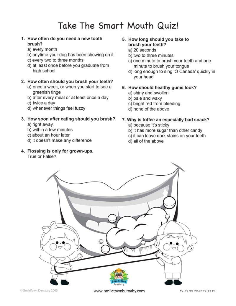 kids corner smile town childrens dentist burnaby smart mouth quiz burnaby childrens dentist