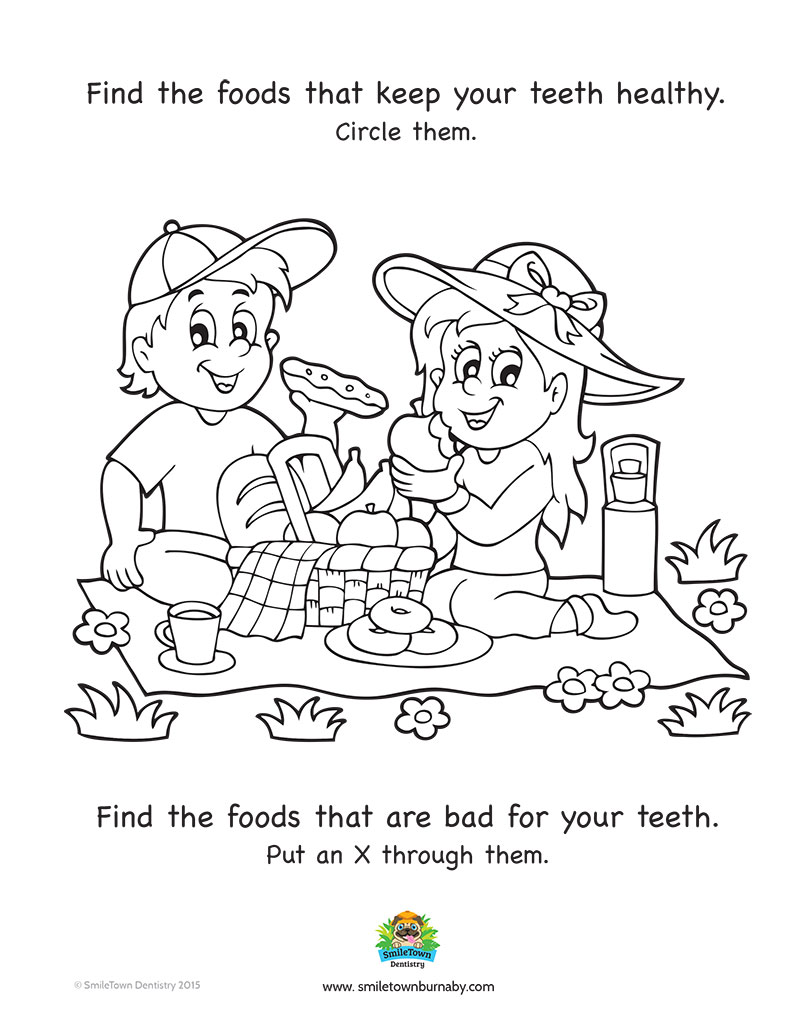Childrens dental coloring pages - Healthy Foods Burnaby Childrens Dentist